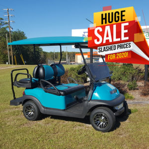used teal golf cart
