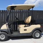 Beige Golf Cart with Utility Box Side