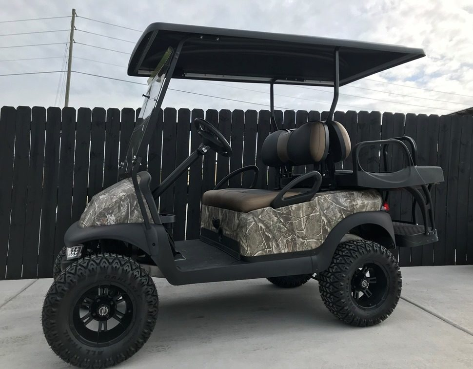Camo Lifted Golf Cart for Sale Side