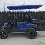 Blue Lifted Golf Cart for Sale Side