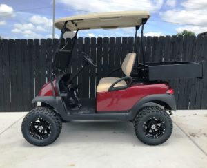 Lifted Burgandy Golf Cart for Sale Main