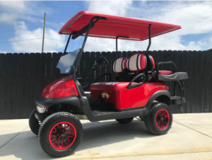 J's Golf Carts Red Lifted Cart for Sale