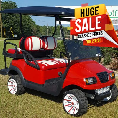 red and white used golf cart